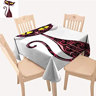 UHOO2018 Solid Tablecloth Pet Cute Like Cat and Looking Its Big Ey Pink Black and Yellow Square/Rectangle Spillproof Fabric Tablecloth,50x 50inch