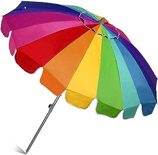 AMMSUN 7.5ft 20 Panels Vented Beach Umbrella with Tilt and Telescoping Pole Pool Outdoor Sun Umbrella with Carry Bag, Rainbow
