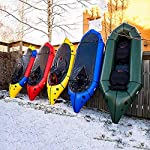 JNWEIYU Inflatable Kayak,Standard Single Boat Without Pulp, Can Be Used for White Water Level 3 Adventure Rafting… 8 LARGE LOAD: This kayak can bear 150 kg weight, enough for 1 persons operate, enough space and convenient to use. Made of high quality thicken PVC material which has 0.3mm thickness, can resist tear, high strength, not easy to be damage. INFLATABLE DESIGN: The inflatable design make it convenient to store when not use, double valve help to finish inflating quickly.