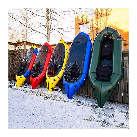 JNWEIYU Inflatable Kayak,Standard Single Boat Without Pulp, Can Be Used for White Water Level 3 Adventure Rafting… 2 LARGE LOAD: This kayak can bear 150 kg weight, enough for 1 persons operate, enough space and convenient to use. Made of high quality thicken PVC material which has 0.3mm thickness, can resist tear, high strength, not easy to be damage. INFLATABLE DESIGN: The inflatable design make it convenient to store when not use, double valve help to finish inflating quickly.