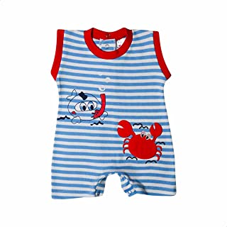 Papillon Embroidered Crab Contrast-Trim Striped Sleeveless Bodysuit for Boys