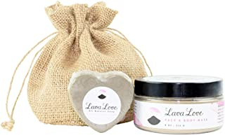 Lava Love Face and Body Mask (8oz) with Grey Heart Soap (3.5oz), Spa Kit