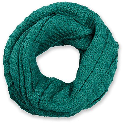 styleBREAKER Unisex Strick Loop Schal kariert, Uni Feinstrick Schlauchschal, Winter Strickschal 01018154, Farbe:Petrol