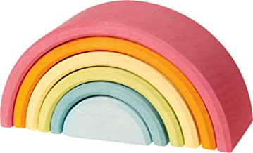 Large 6-Piece Pastel Rainbow Stacker, Open-Ended Wooden Nesting & Stacking Toy Blocks