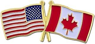 PinMart USA and Canada Crossed Friendship Flag Enamel Lapel Pin