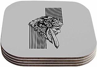 """قاعدة أكواب بارماليسي آر بي """"ذا تشيف"""" باللونين الأسود والرمادي (مجموعة من 4 قطع) من كيس إنهاوس، 10.16 سم × 10.16 سم، متعدد..."""