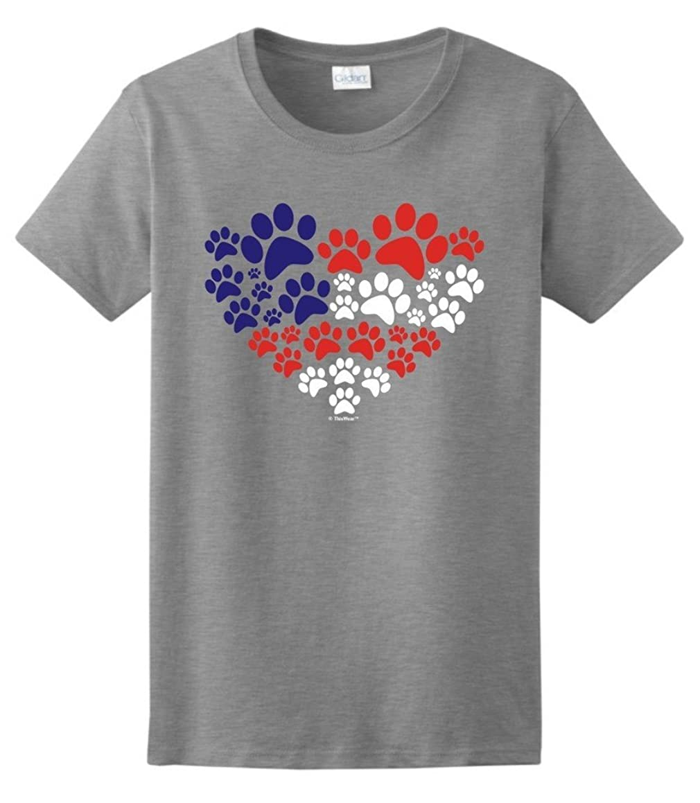 ThisWear Animal Lover Cat Dog Paw Prints Heart USA Flag Ladies T-Shirt