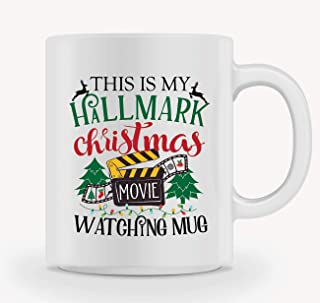 Christmas Coffee Mug - THIS IS MY HALLMARK CHRISTMAS MOVIE WATCHING MUG - Mug Gift in Blue Ribbon Box - 11 oz - Gifts for Family,Friends, Coworkers - Both Sides Printed