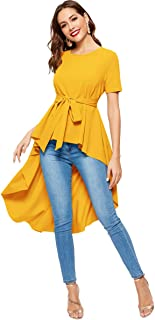 Romwe Women's Irregular Hem Short Sleeve Belted Flare Peplum Ruffle Blouse Shirts Top