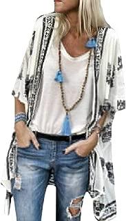 Womens Half Sleeve Fashion Bohemia Print Loose Cardigan Long Shirt