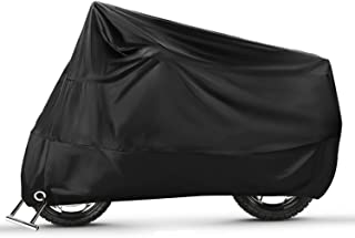 Ergocar Motorrad Abdeckplane Outdoor & Indoor Motorradgarage Wasserdicht Motorradabdeckung 210D Verdickte Polyester UV Schutzhülle,Schwarz L (86.6' x 37.4' x 43.3')