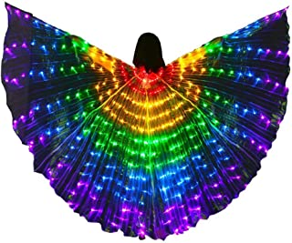 LED Belly Dance Wings Girls Colorful Butterfly Wings with Telescopic Stick