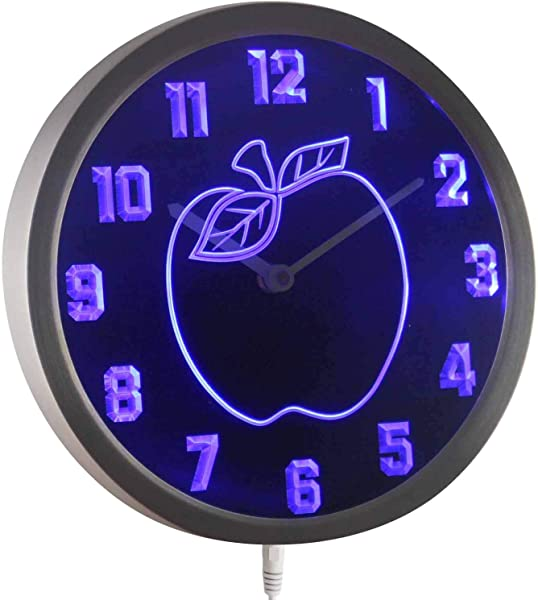 ADVPRO Nc0969 B Apple Kitchen Decor Neon Sign LED Wall Clock
