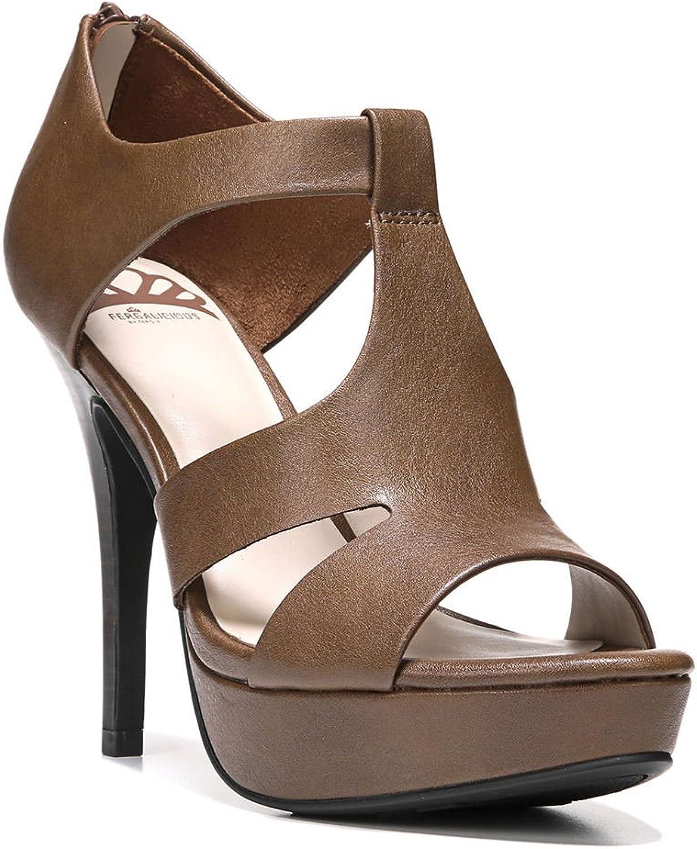 Fergalicious Emilee Women Open Toe Synthetic Brown Platform, Brown, Size 8.5