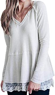 Women's Casual Waffle Knitted Loose Tunic Tops V Neck Long Sleeve Lace Hem Pullover Shirt
