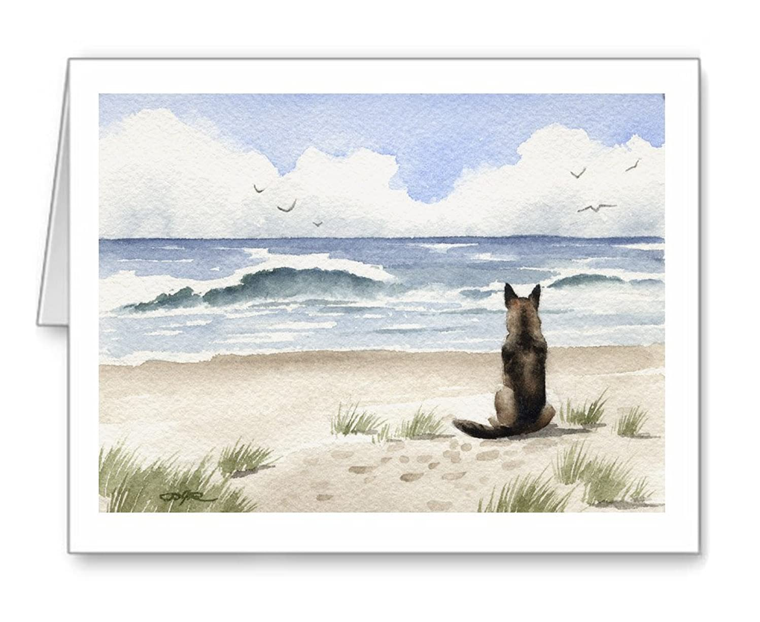 German Shepherd At The Beach - Set of 10 Note Cards With Envelopes