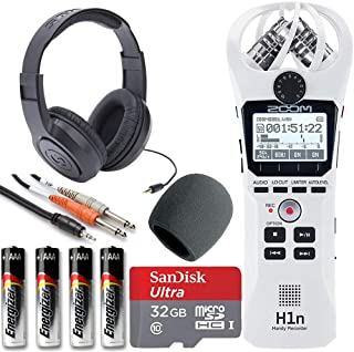 Zoom H1n Handy Recorder + On Stage Windscreen + SanDisk Ultra 32GB Card + Cable + Samson Headphones + Energizer AAA Batter...