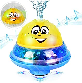 Baby Bath Toys, 2 in 1 Bathly Toy Sprinkler Bath Toy Water Spray Toy Electric Induction Light Up Musical Bathtub Toys for ...