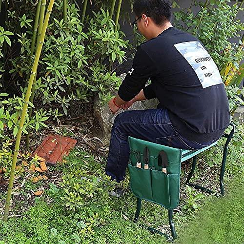 Xkun portátil durable jardín arrodillado silla y asiento, taburete plegable de jardinería