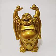 Sculpture Appreciation Golden Chinese Laughing Buddha Statue Feng Shui Maitreya Buddha Sculptures Home Decoration