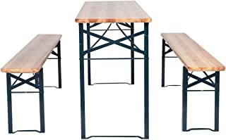 3 PCS Beer Table Bench Set Folding Wooden Top Picnic Table Patio Garden