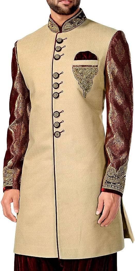 INMONARCH Mens Sherwani Kurta Pink Indo Western Groomswear Indian Sherwani IN4371