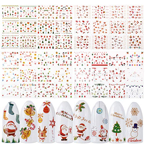 FLOFIA 48 Blatt Nagelsticker Weihnachten Nagelaufkleber Christmas Schneeflocken Elch Schneemann Nail Art Tipp Sticker Fingernägel Tattoo 3D Design Maniküre Decals Abziehbild DIY