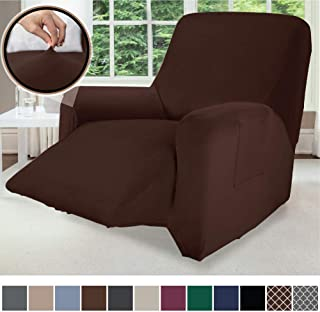 Gorilla Grip Original Velvet Fitted 1 Piece Recliner Slipcover, Stretch Up to 28 Inches, Velvety Covers, Luxurious Chair Slip Cover, Spandex Recliners Furniture Protector, with Fasteners, Chocolate