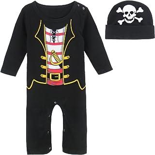 MOMBEBE COSLAND Bambino Bimbo Marinaio Pagliaccetto Costume con Cappello