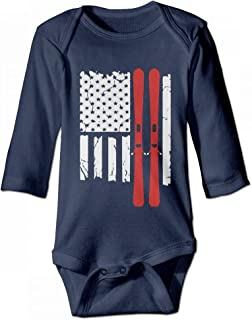 US American Flag Ski Skiing Baby Girl Boys Long Sleeve Jumpsuits Bodysuits