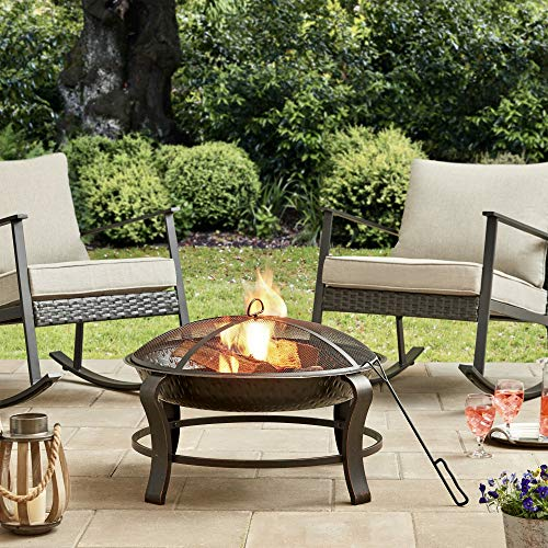 UNIVERSAL LTD FIRE PITS Outdoor Wood Burning 28 INCH Round Wood Burning FIRE Pit Backyard Patio Garden Outside Wood Burning Heater
