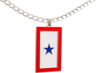 Happy Kisses Blue Star Service Flag Necklace – Blue Star Mom Pendant– One, Two & Three Stars – Message Card