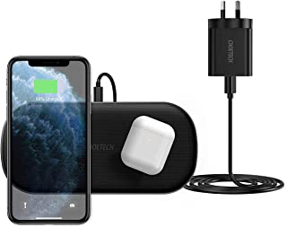 CHOETECH Dual Wireless Charger, 5 Coils Qi Certified Fast Wireless Charging Pad Compatible with iPhone 12/12 Pro/12 Pro Ma...