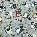Kt KILOtela Tela de loneta Estampada - Retal de 100 cm Largo x 280 cm Ancho | Perritos y Marcos - Gris, Negro, Rojo, Naranja, Verde, Azul ─ 1 Metro