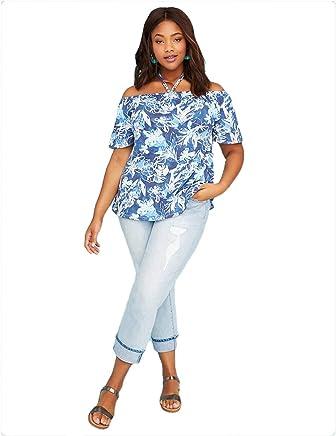 61309da7e8230d Lane Bryant Floral Off Shoulder Flutter Sleeve Halter Top at Amazon Women's  Clothing store: