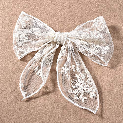 Korean-Style Lace Bow Hair Clips For Women Girls White Flower Hair Accessories Handmade Hair Decor Barrette
