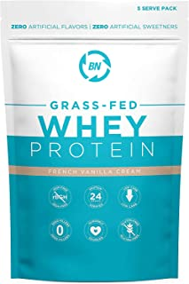Grass Fed Whey Protein Vanilla 5 Serving Trial Size - 100% Pure and Natural - 5 Serving - 24g Protein - Cold Processed - N...
