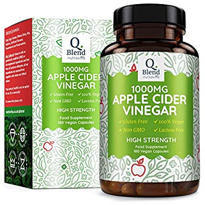 Apple Cider Vinegar 1000mg per 2 Capsules | 180 Capsules with 500mg per Capsule | Highest Strength Apple Cider Vinegar Supplement on Amazon | Made & Manufactured in The UK for Nutravita