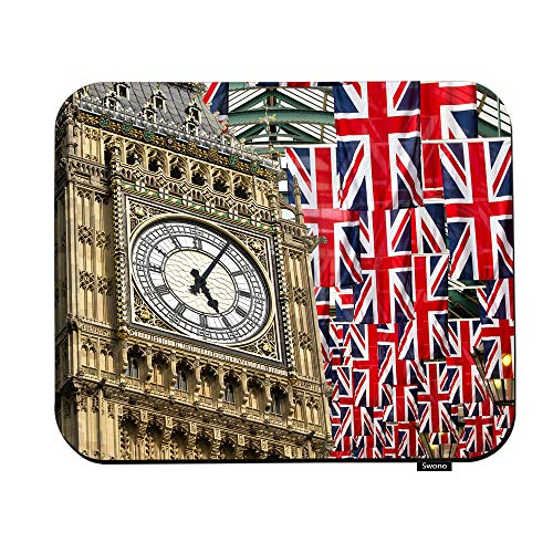 Swono Union Jack Flags and Big Ben Mouse Pads Big Ben and Flag of The United Kingdom in London City Mouse Pad for Laptop Funny Non-Slip Gaming Mouse Pad for Office Home Travel Mouse Mat 7.9'X9.5'