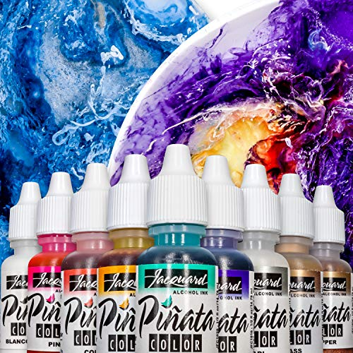 Jacquard Piñata Alcohol Ink Exciter Pack - Overtones with 9 Colors - 1/2 Ounce Bottles - Bundled with Moshify Blending Pen