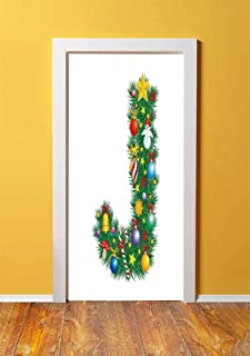 Letter J 3D Door Sticker Wall Decals Mural Wallpaper,Capital J with Christmas Celebration Items Colorful Balls Candy Snowman Design Decorative,DIY Art Home Decor Poster Decoration 30.3x78.1925,Multico