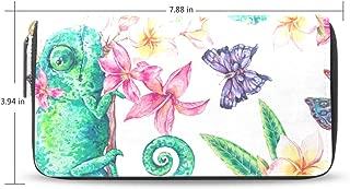 Women Wallet Purse Clutch Bag Chameleon Seamless Pattern Animal Zipper Leather