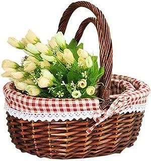 Picnic Basket, Wicker Storage Basket - Easter Storage Basket with Handle for Egg Gathering Wine Picnic Kitchen Basket Basket Picking Fruit Wedding