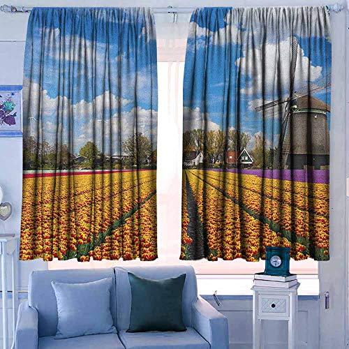 witte gordijnen Decoratieve Gordijnen Voor Woonkamer en Slaapkamer Windmolen Traditionele Nederlandse Windmolens met Rode Tulpen in Amsterdam Scenic Field Riverscape Multi kleuren