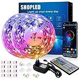 Tira LED 12M, SHOPLED Bluetooth Music Sync SMD 5050 RGB Tiras LED con Control de Aplicación, 44 Teclas de Control Remoto para...
