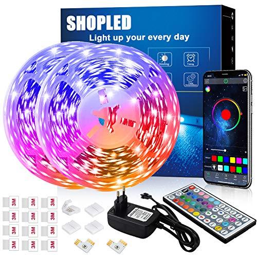 Striscia LED 12M, SHOPLED Bluetooth Music Sync SMD 5050 RGB Luci LED con Controllo Dell Applicazione, Telecomando a 44 Tasti, Adatto per Camera da Letto, Cucina, TV, Feste, Decorazione Della Stanza