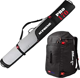 Full Padded Ski Bag and Boot Bag Combo -New Upgraded Zipper - for 1 Pair of Skis and Ski Boots - Select From 170cm (66-7/8) or 190cm (74-3/4) - Include 1 Padded Ski Bag and Boot Bag - Black and Gray