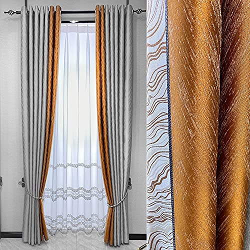 ZYY-Home curtain Jacquard Ahorro de energía Cortinas Opacas Costuras sin Costuras con Ojales Cortinas 2 Paneles para Salón Dormitorio,W120xL140cm