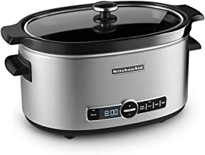 KitchenAid Refurbished 6-Quart Slow Cooker with Glass Lid   Stainless Steel