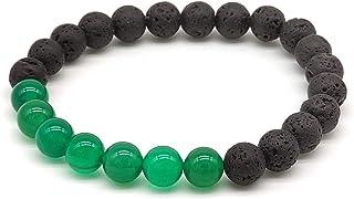 Bracciale in Agata Verde e Pietra Lavica, Pietre Dure, Elastico 19 cm, Fatto a Mano